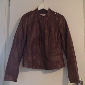 Faux brown leather jacket M (vegan leather)